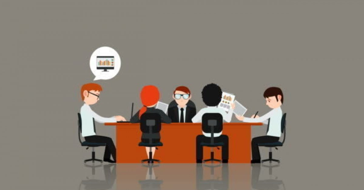An animated cartoon of a business meeting with five people sitting at a desk and balloon thoughts appearing over their heads.